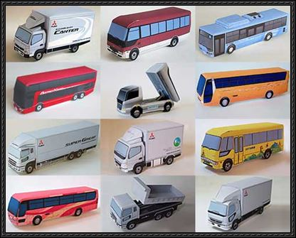 Lots-of-Mitsubishi-Fuso-Truck-and-Bus-Paper-Models