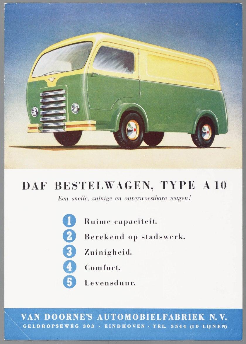 1950 DAF A10 bestelwagen enkelbladige folder a