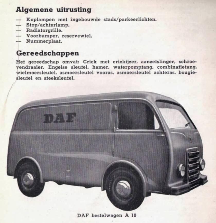 1953 DAF A10 Bestel + Gereedschap