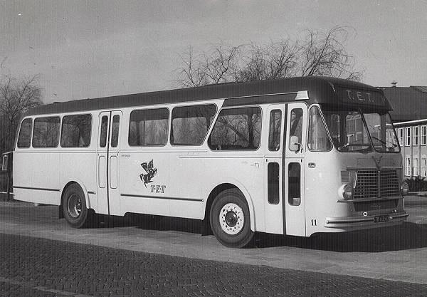 1957 Daf-Leyland 11 met carrosserie van Verheul. De eerste miljonairs voor de TET. 40 zit en 25 staanplaatsen