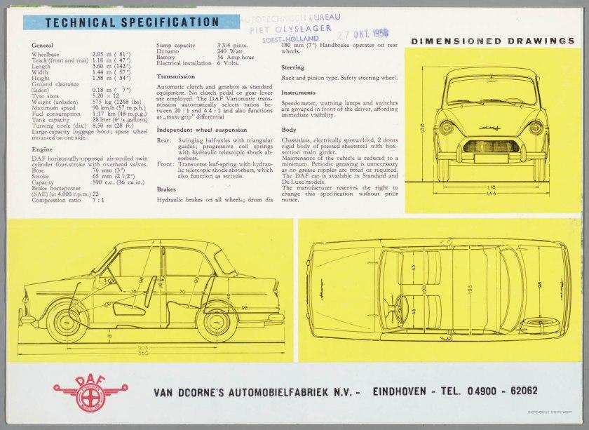 1958 DAF 600 with varimatic transmission d
