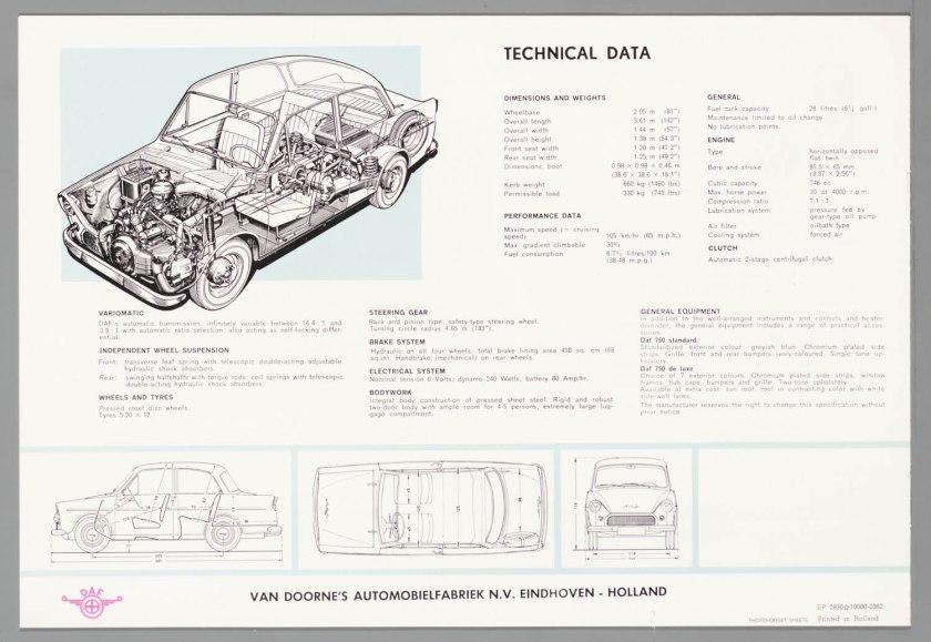 1962 DAF 750 Standaard & Luxe e