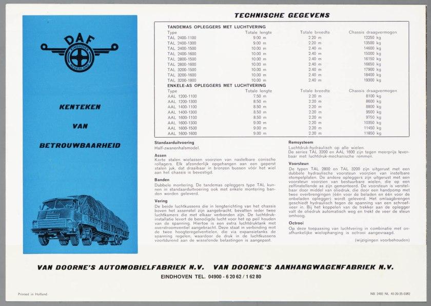 1962 DAF Opleggers met luchtvering c