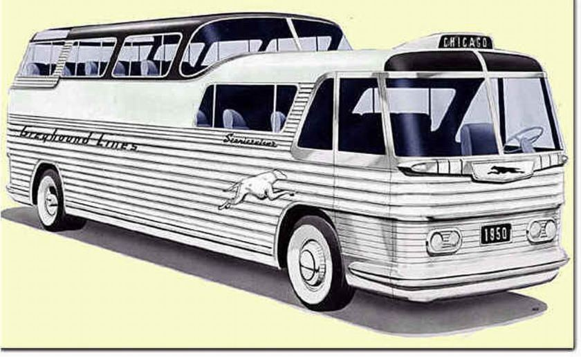 Bussen Autocar de la greyhound del mismo año del Monocasco. La inspiracion es indudable