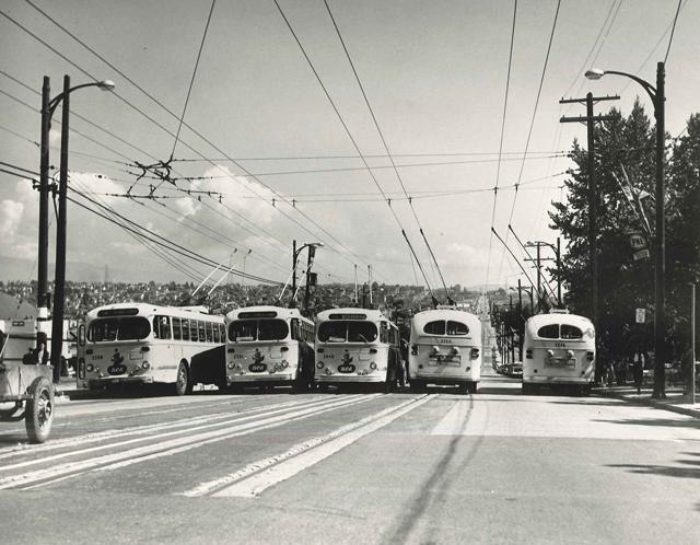 Five Can Brill Trolleys cross Hastings Street 04-14hastings