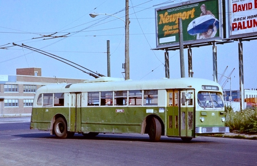 Philadelphia ACF-Brill trolleybus 215 on route 79 in 1978