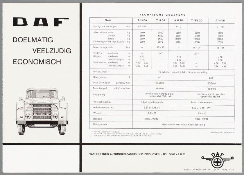 1965 DAF serie 13-16DA-16DD torpedowagens d