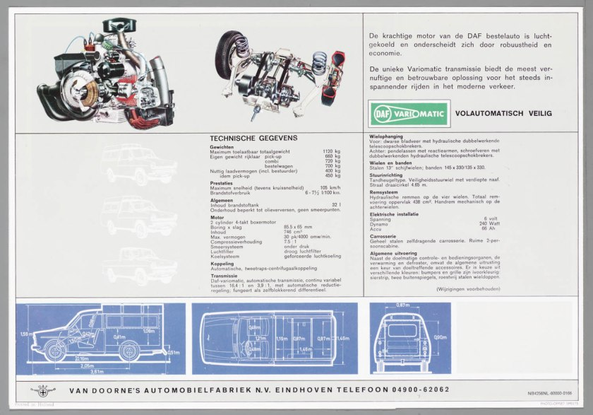 1966 DAF 32 Pick-up Bestel Combi d