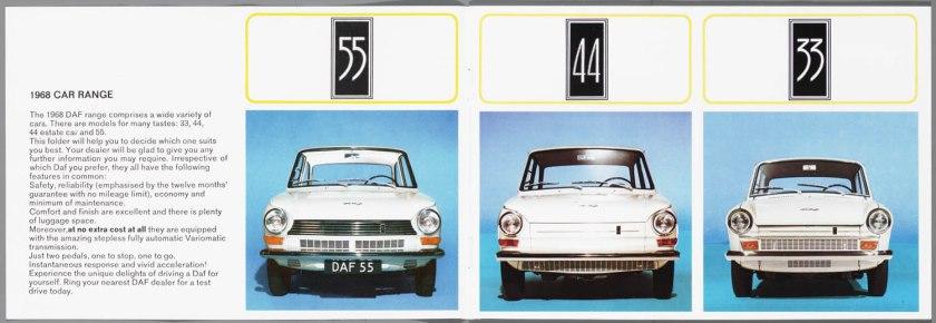 1968 DAF 33, 44, 55 Sedan, 33 Bestel, 44 Combi b