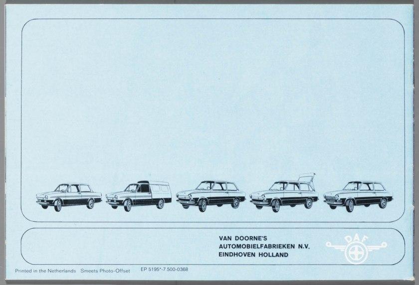 1968 DAF 33, 44, 55 Sedan, 33 Bestel, 44 Combi k