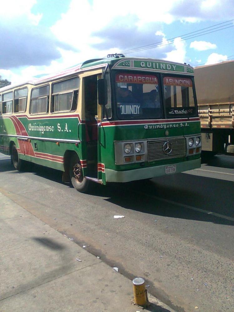 1975 Mercedes-Benz LO 1114 frontalizado - DE.CA.RO.LI (en Paraguay) - Quiindyense , Linea 202