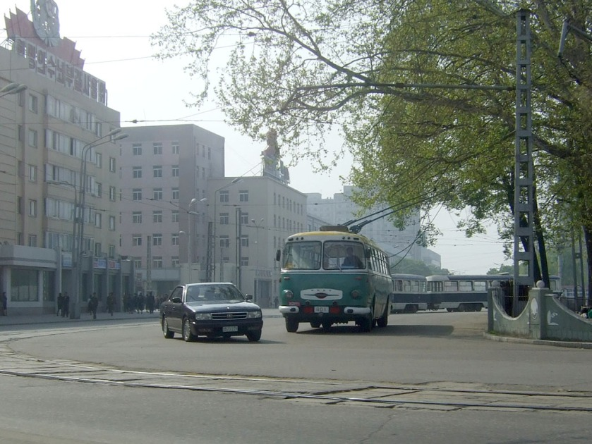 25 Bus terminal in front of Pyongyang Station,DPRK, Chollima bus