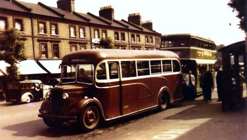 62 1955 Bussen Commer Q4 (P6 engined)Heaver LPU691, believed to show one of only two single deckers still in City livery in 1955