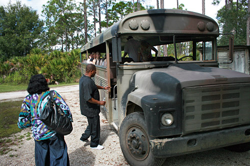Camo-painted school bus takes guests through the swamp Babcock Wilderness4