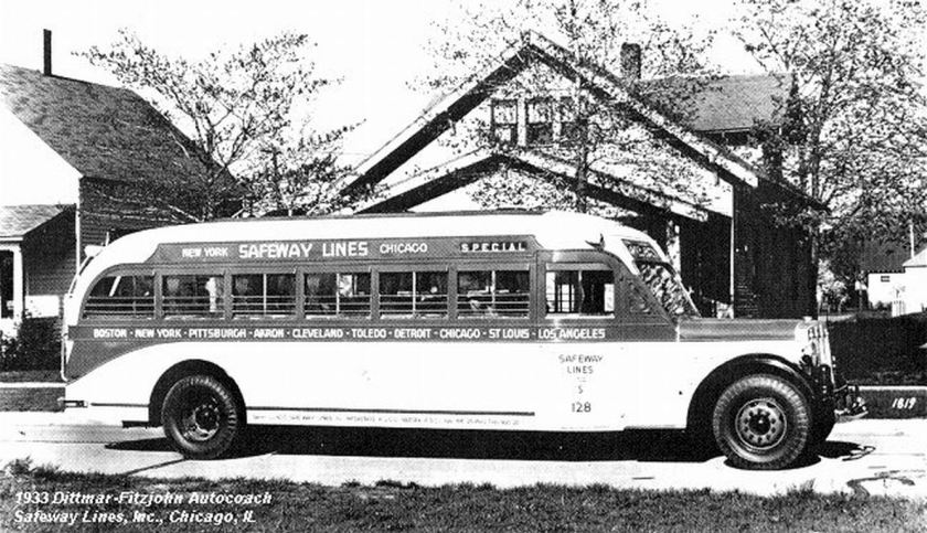 1933 Dittmar-Fitzjohn Autocoach Safeway Lines, inc. Chicago. Il