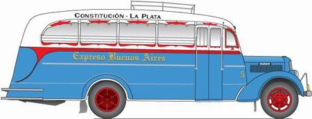 1935 El dibujo de Aníbal Trasmonte muestra un microómnibus Fargo, carrozado por Agosti con el color azul claro que se puede identificar en la fotografía de 1935