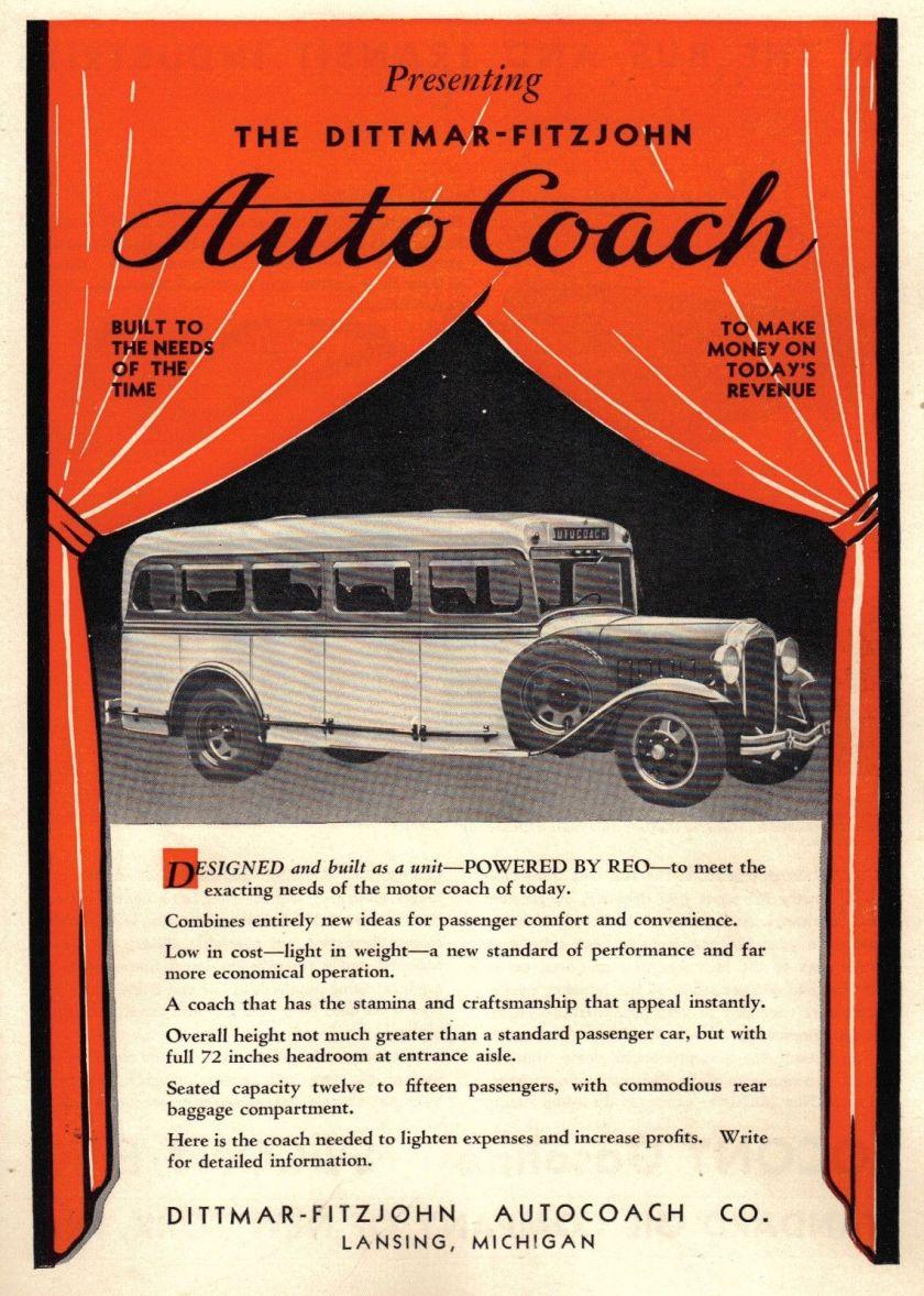 Dittmar Fitzjohn Autocoach C). Lansing Michigan Ad