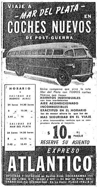"""trebol_15 El Trébol sobre chasis Aclo """"de post-guerra"""", publicidad de Expreso Atlántico, 1947. (Archivo Pedro C.Teisa)"""