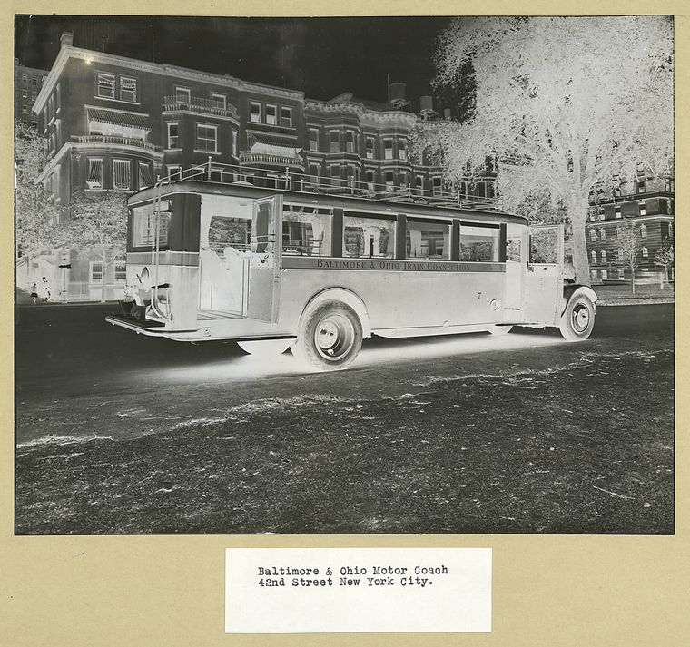 1925 GM Baltimore & Ohio Motor Coach, 42nd Street, New York City.