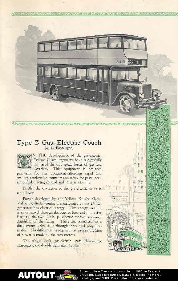 1927 Yellow Coach Double Decked Model 'Z YELLOWTYPEZDD