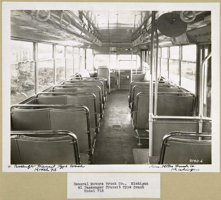 1935 GM N Yellow COach 718 INTERIOR