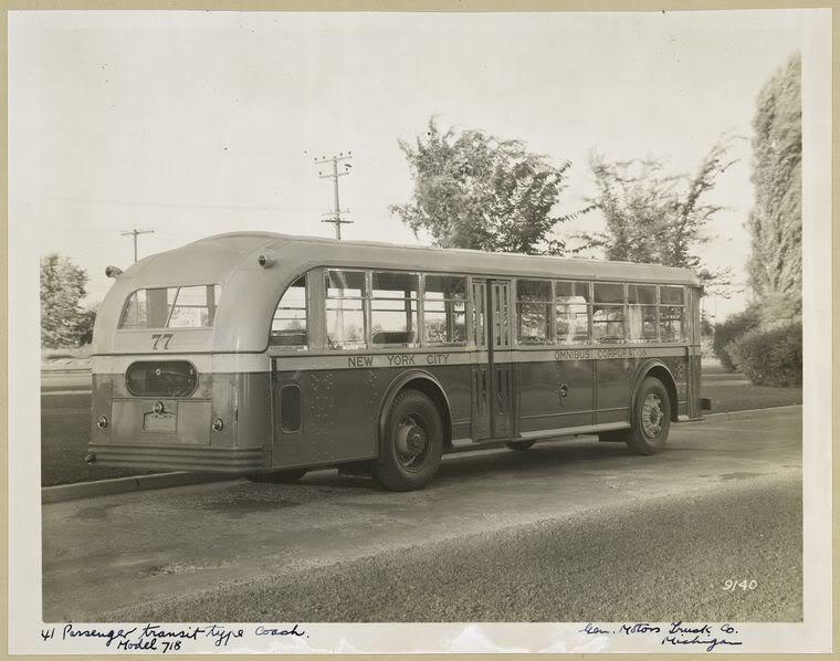 1935 GM N Yellow COach 77 REAR VIEW