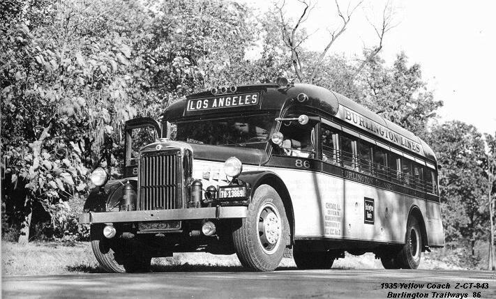1935 Yellow Coach Class Z-250 Model Z-CT 843b BURLINGTON