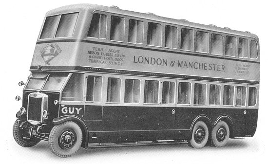 1928 Guy 6 wheeled double deck long distance sleeper coach