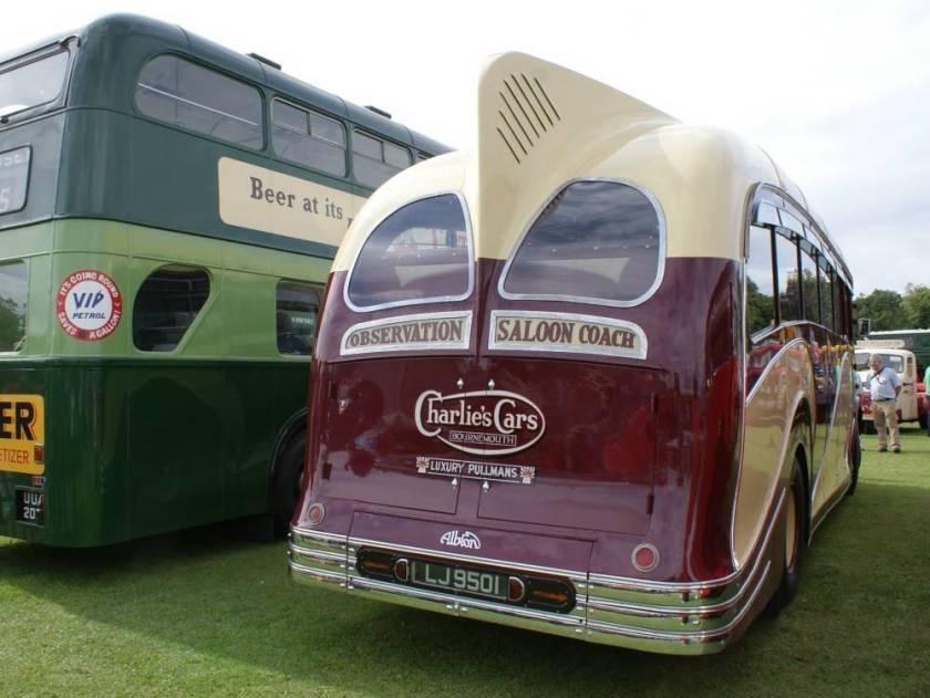 1934 Albion Valiant with post war Harrington bodywork is the famous Harrington dorsal fin roof