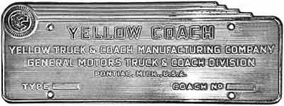1937 Yellow Coach ID plate