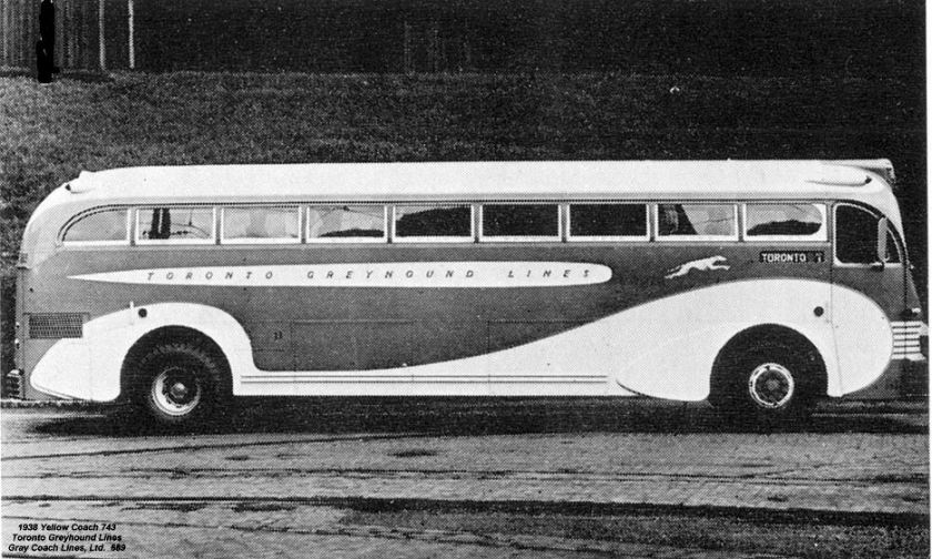1938 Yellow Coach 743 Toronto Greyhound Lines Gray Coach Lines Ltd 689