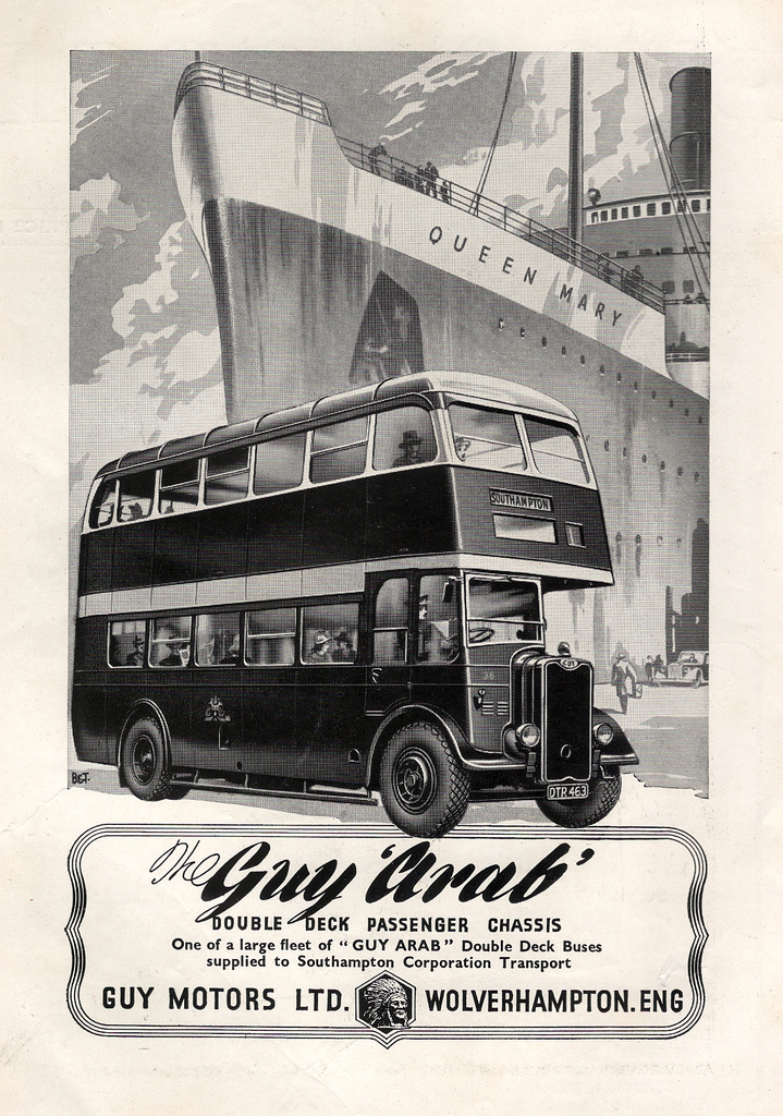 1947 Guy Motors of Wolverhampton, Southampton Guy Arab bus advert