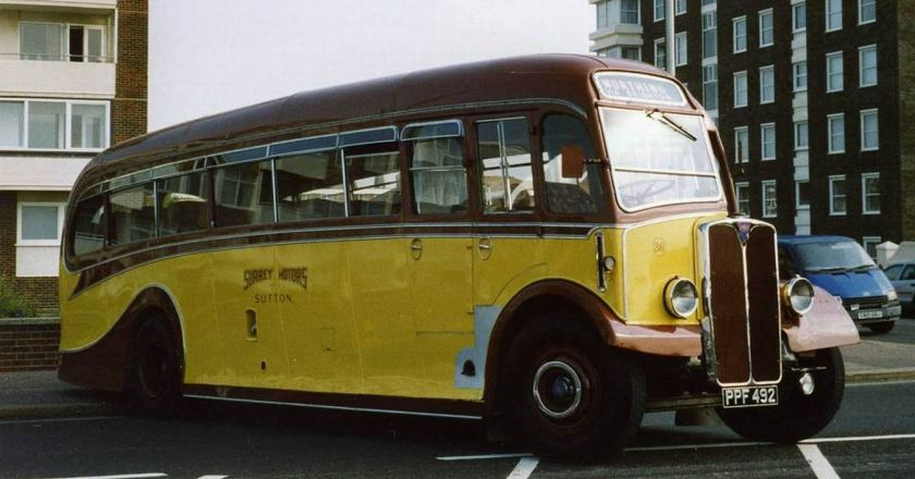 1951 AEC Regal III 6821A fitted with a Harrington C37F half cab body, along with PPF491