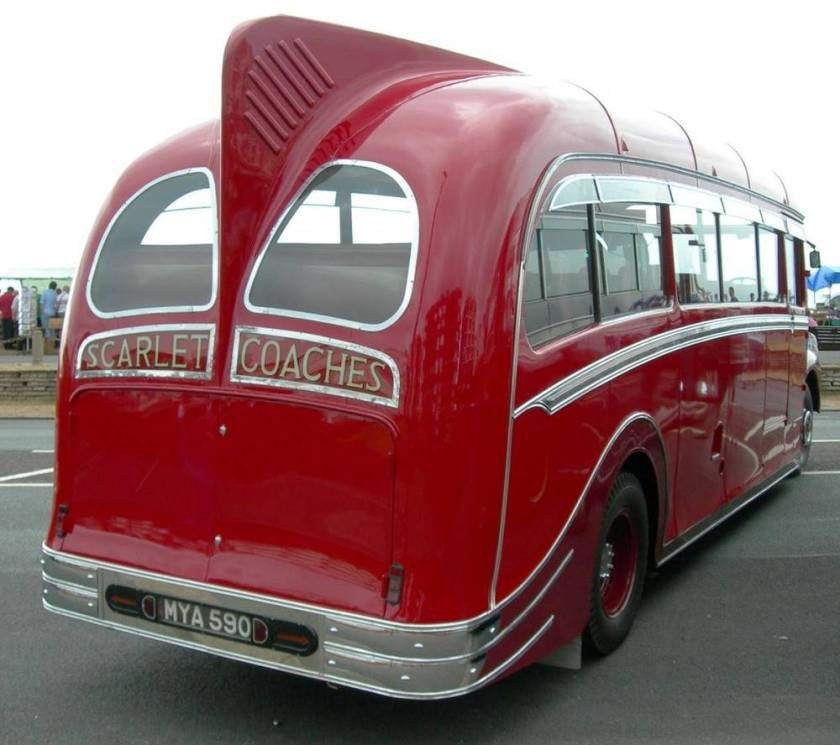 1951 Leyland Comet-Harrington MYA590 showing 'Dorsal Fin' and 'Pirates Hat' strakes on rear wheel arches.
