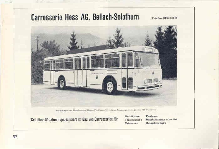 1967 Berna Carrosserie Hess Bus Ad Switzerland