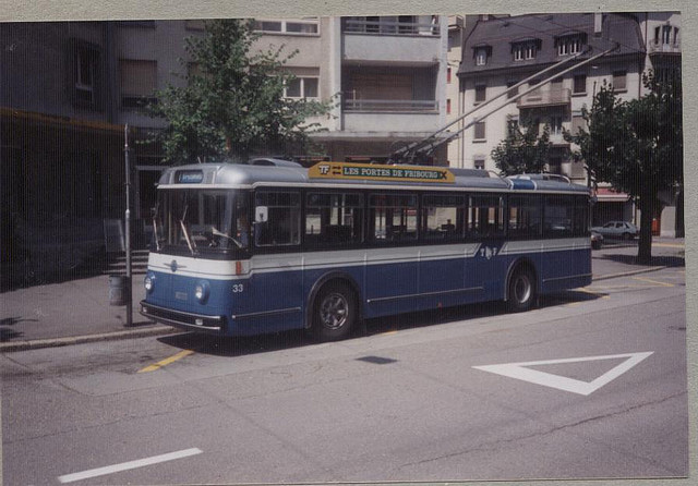 1986 Friburg Saurer Hess T.Bus 33 Route 1 at Les Perolles