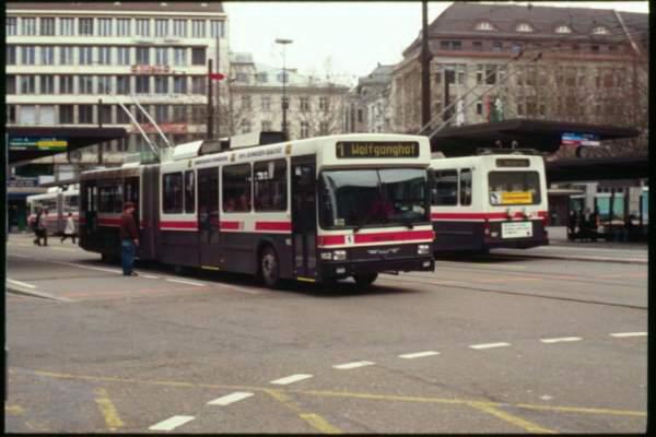 2000 Two Saurer Hess trolleybuses St Gallen 1