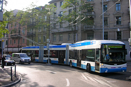 2013 A 25m bi-articulated Zurich Hess 'Lightram' trolleybus