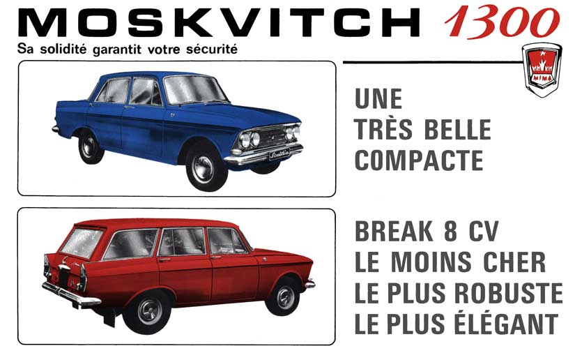 1970 Moskvitch 1300 Saloon & Estate (c1970) French Text Moskvitch 1300 Saloon & Estate (c1970)