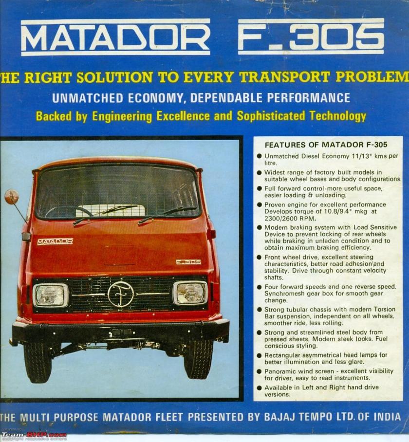 1989 Bajaj Tempo Matador F305,F307