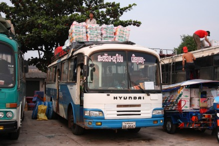 1990 Hyundai FB500 intercity bus in Savannakhet
