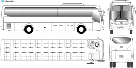 2010 Hyundai Universe Bus blueprint