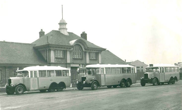 1927 Three Salford City Tramways Karriers, at an unknown location
