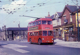 1942-61 South Lancs 61, a Karrier W utility trolleybus at Four Lane Ends