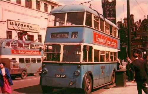 1945 POSTCARD Bradford Trolleybus 738, 1945 Karrier, Roe Body