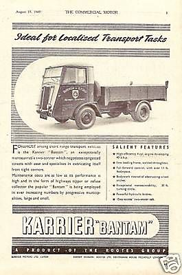 1949 Karrier Bantam Ilford Borough Truck Old Advert