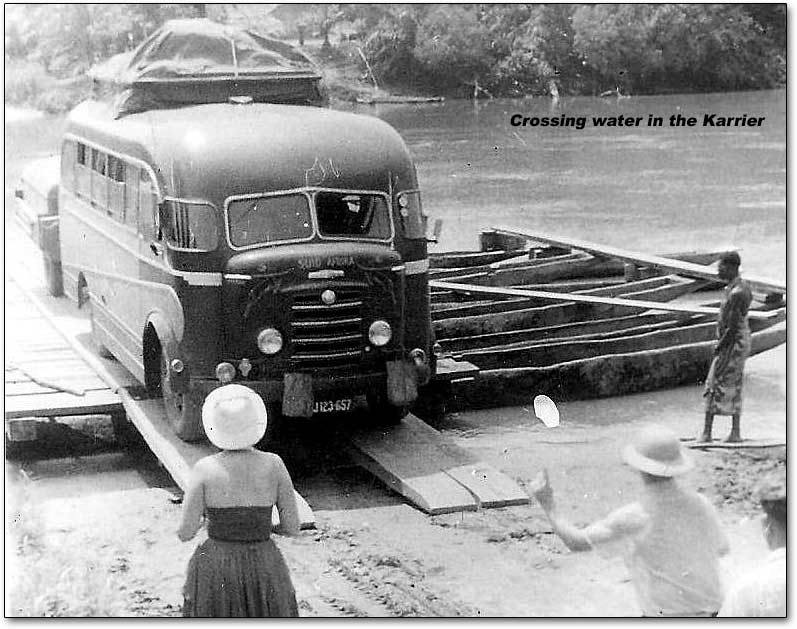 1956 Karrier bus crossing the river