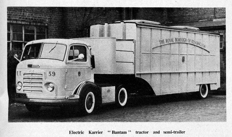 1959. Electric Bantam tractor and semi-trailer.