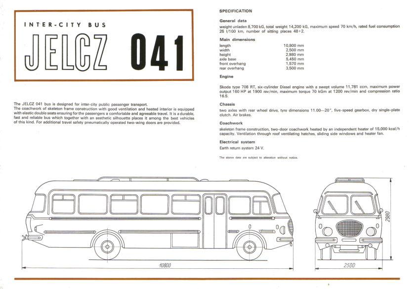 1969 Jelcz 041 & 043 brochure