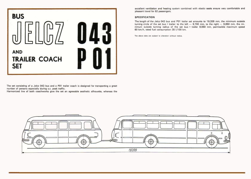 1969 Jelcz 043 Bus + P01 Bus Trailer 2-3
